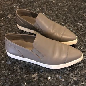 Vince gray leather slip ons
